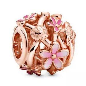 Openwork Pink Daisy Flower Charm For Pandora